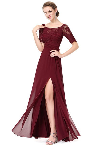 Milanoo Chiffon Evening Dresses Lace Applique Mother Of The Bride Dresses Dark Navy Short Sleeve Slit A Line Floor Length Wedding Guest Dresses