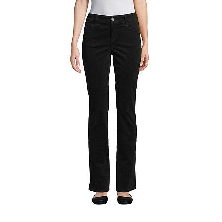St. John's Bay Womens Mid Rise Straight Corduroy Pant, 6 Petite Short , Black
