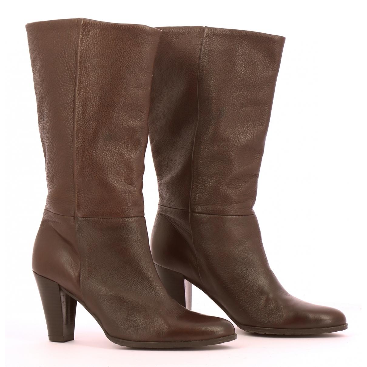 Balmain - Bottes   pour femme en cuir - marron