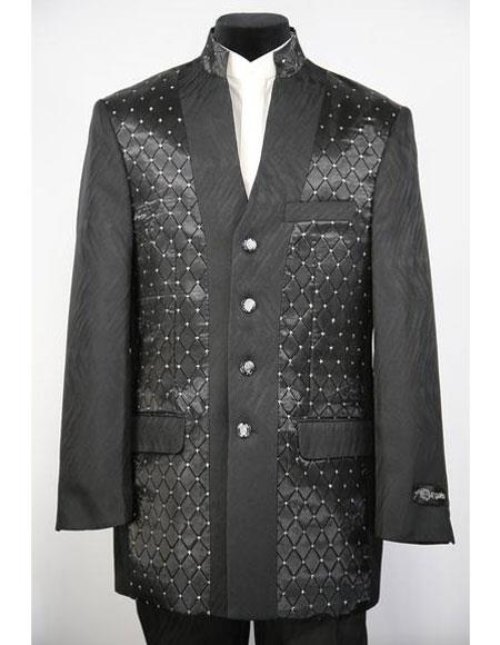 Men's Mandarin Collar 4 Button 2piece Diamond Pattern Black Zoot Suit
