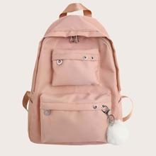 Pocket Front Pom Pom Decor Backpack