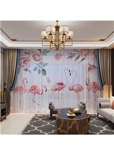 The Harmonious Flamingos Family and Pink Flora 3D Printing 2 Panels Custom Sheer