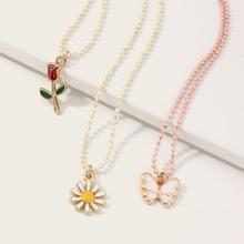 3 Stuecke Kleinkind Maedchen Halskette mit Schmetterling & Rose Anhaenger