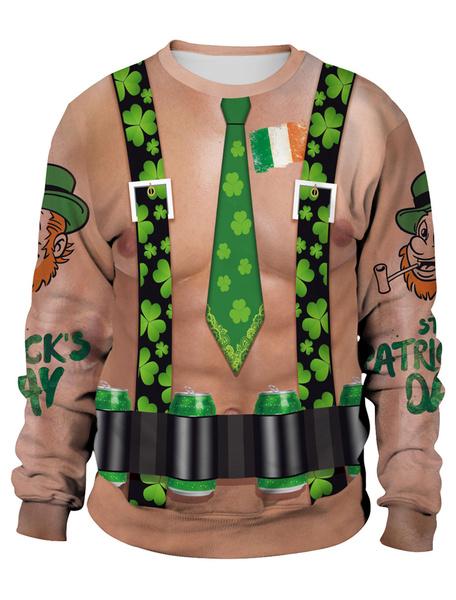 Milanoo Sweatshirt St Patricks Day 3D Printed Clover Flesh Pullover Unisex Irish Long Sleeve Top Halloween