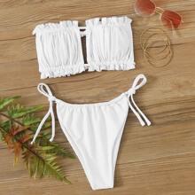 Ruched Frill Trim Bandeau Tie Side Bikini Swimsuit