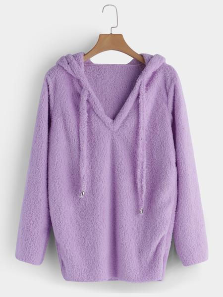 Yoins Purple Mohair Pullover Drawstring Hoodie