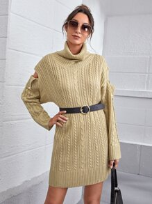 Cut Out Detail Cable Knit Sweater Dress Without Belt