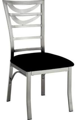 Roxo Collection CM3729SC-2PK Set of 2 Contemporary Style Side Chair with Ladder Back  Padded Microfiber Seat and  Metal Frames with Satin Plated