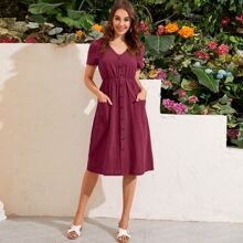 Solid Button Front Pocket Detail Dress