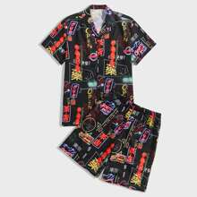 Guys Lapel Letter Graphic Button Up Shirt & Shorts