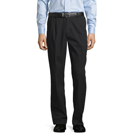 St. John's Bay Easy Care Men's Stretch Classic Fit Pleated Pant, 34 30, Black