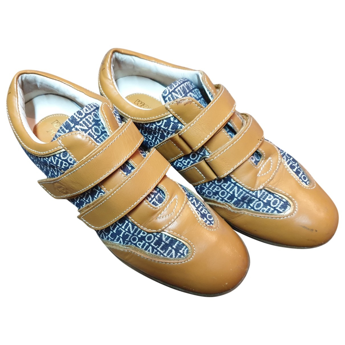 Pollini - Baskets   pour femme en cuir - camel