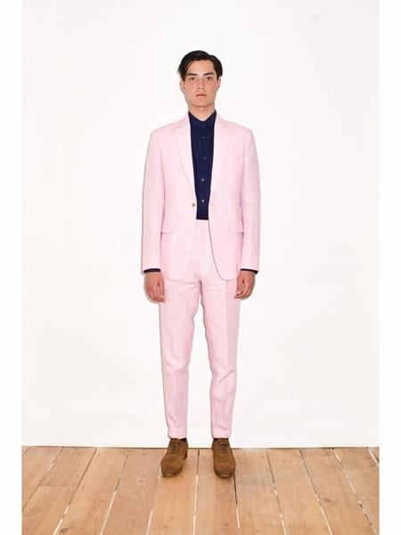 Mens Single Breasted Notch Lapel Pink Linen Suit