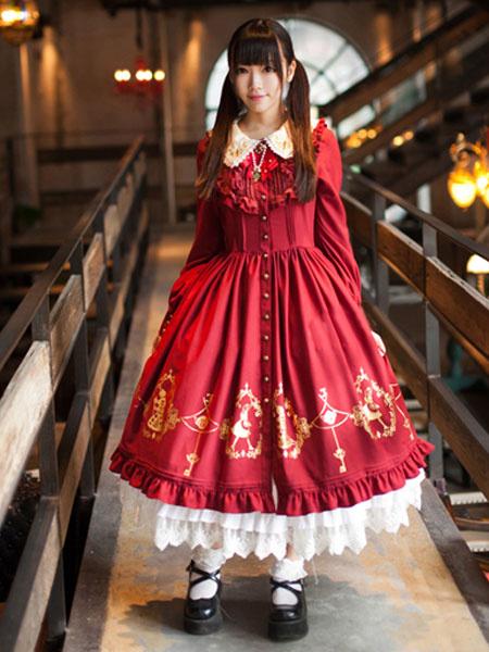 Milanoo Dulce Alicia en el pais de las maravillas de cordon sintetico manga larga Lolita Vestido
