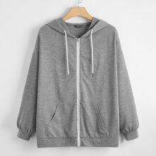 Plus Solid Kangaroo Pocket Drawstring Zip-up Hoodie