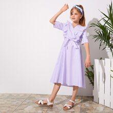 Girls Ruffle Trim Patch Pocket Striped Belted Dress