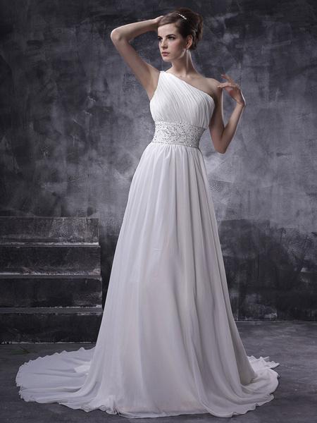 Milanoo Vestido de novia de chifon con escote a un solo hombro y adorno arrugado de cola larga