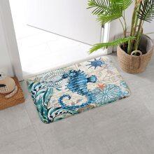 Seahorse Print Floor Mat