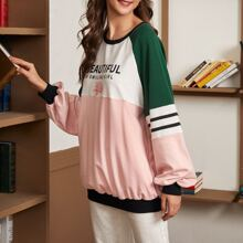 Slogan and Floral Print Raglan Sleeve Longline Oversized Pullover