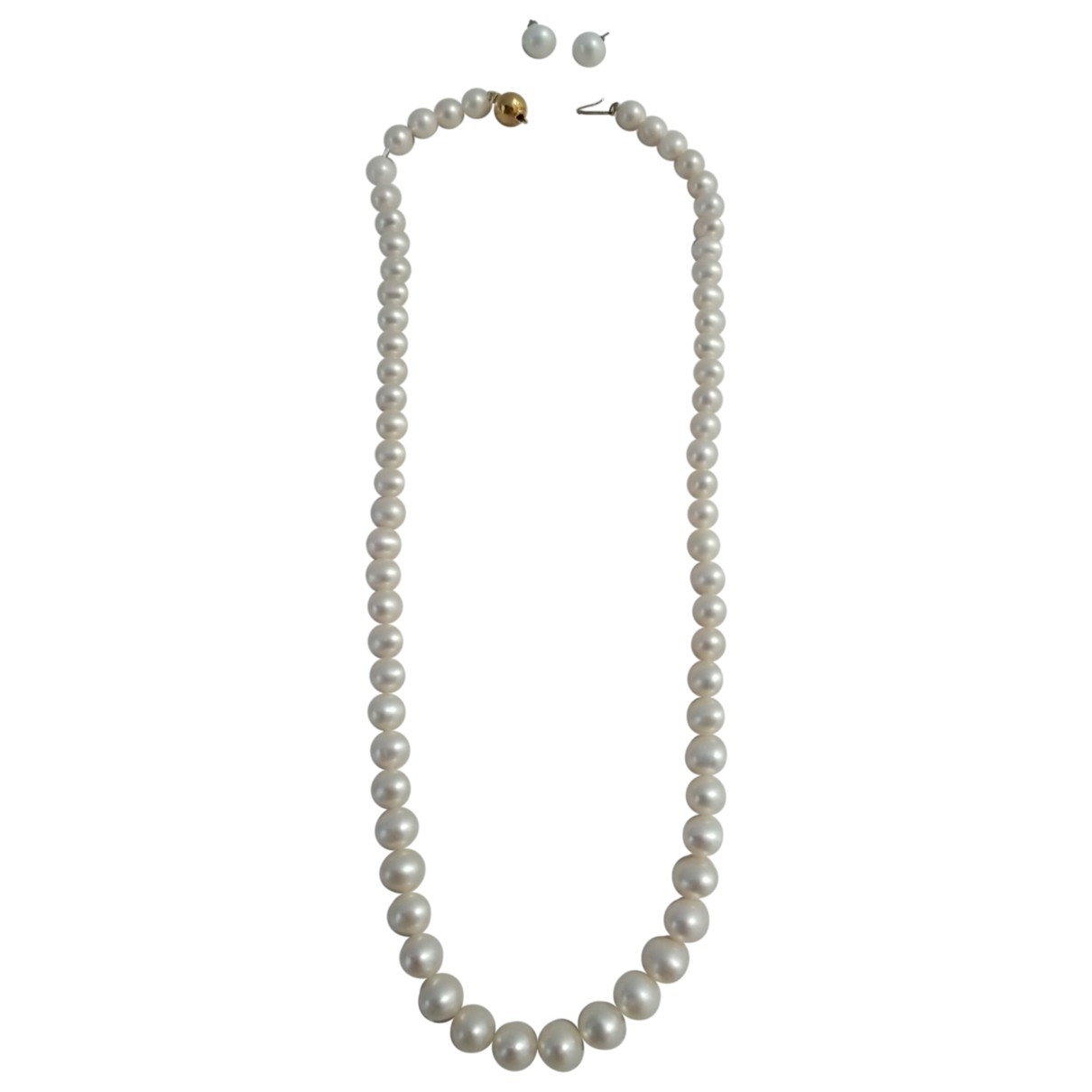 Non Signe / Unsigned Nacre Schmuck-set in  Weiss Perle
