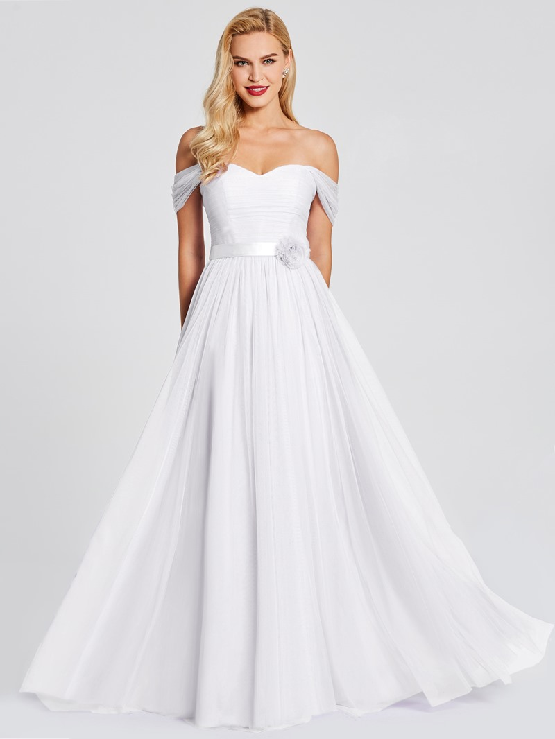Ericdress Off The Shoulder A Line Tulle Long Bridesmaid Dress