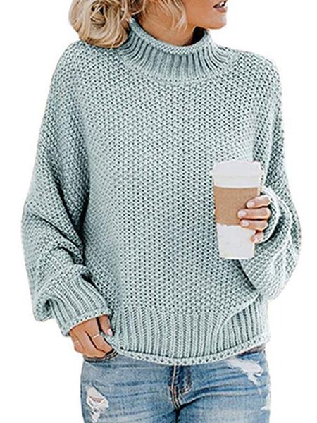 Milanoo Women Pullover Sweater Deep Apricot High Collar Long Sleeve Sweaters