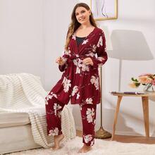 Plus Cami Top & Floral Pants & Belted Robe PJ Set