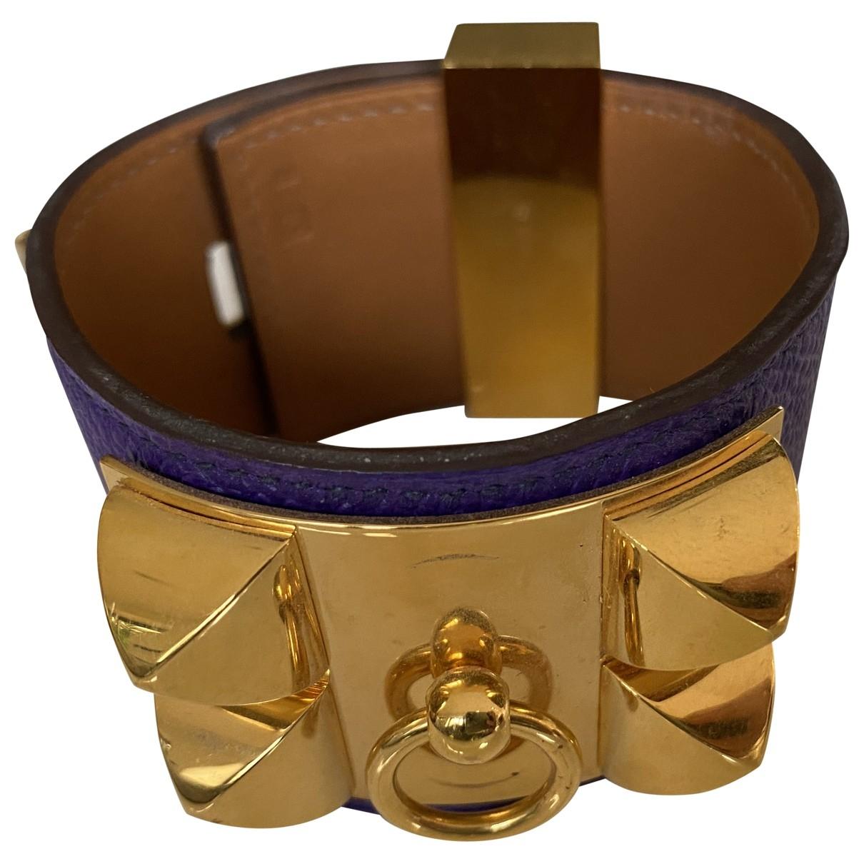 Hermes - Bracelet Collier de chien  pour femme en cuir - violet