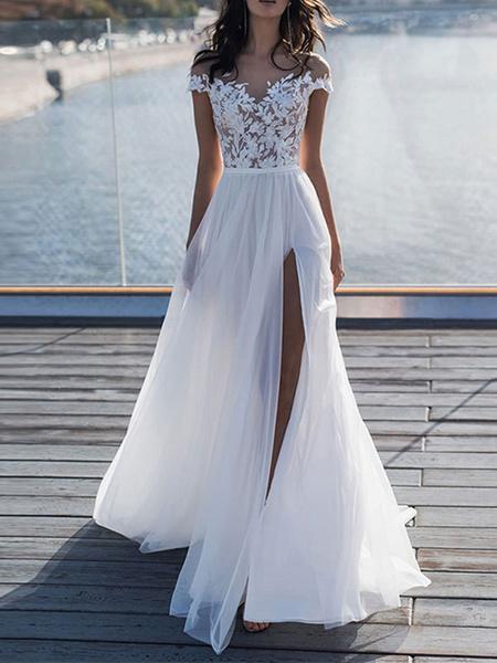 Milanoo boho wedding dresses 2020 lace off the shoulder short sleeve floor length split front bridal dress with train