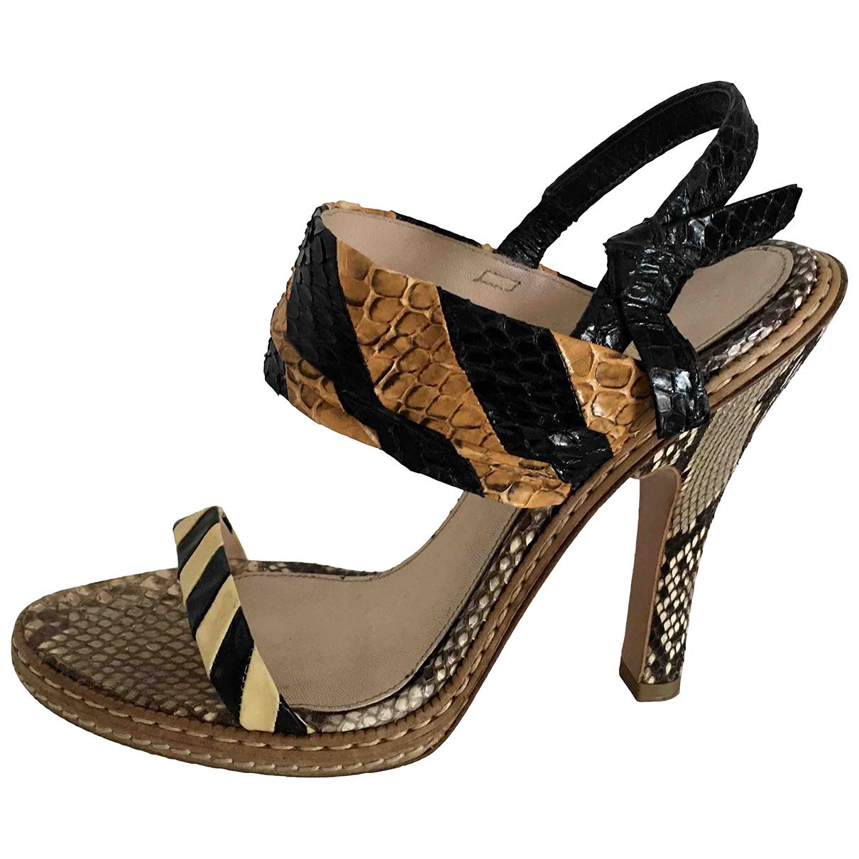 Prada - Sandales   pour femme en serpent deau - beige
