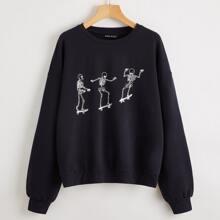 Pullover mit sehr tief angesetzter Schulterpartie und Skelett Muster