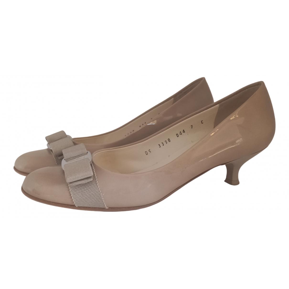 Salvatore Ferragamo N Beige Patent leather Heels for Women 7 UK