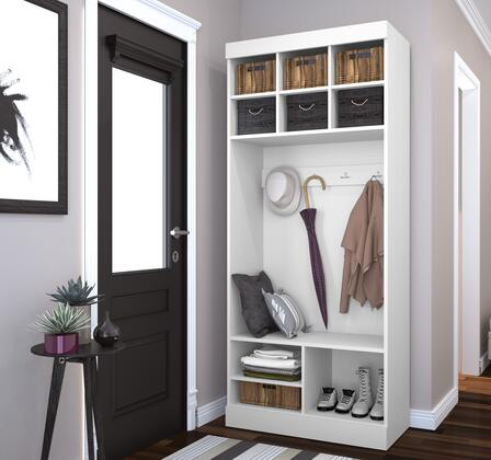 26167-17 Pur 83.7 Tall Storage Unit with 9 Open Storage Sections and Bench in