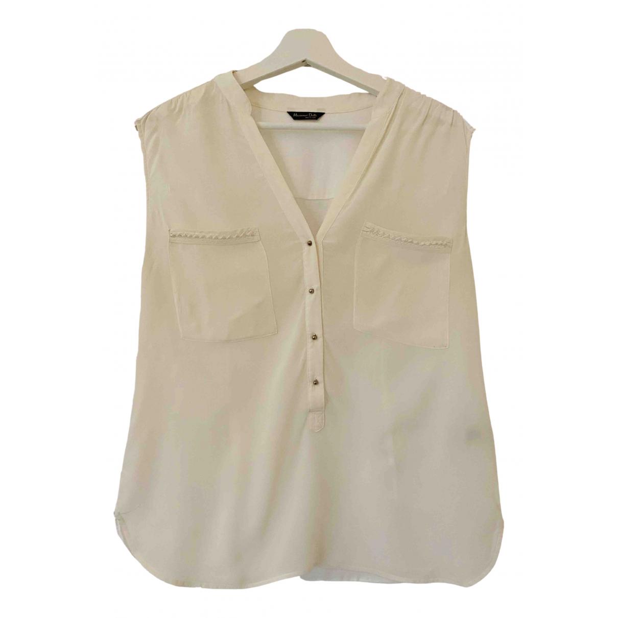 Massimo Dutti - Top   pour femme en soie - blanc