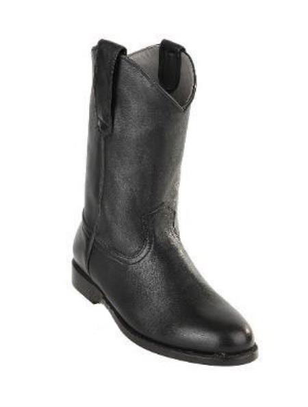 Men's Black Genuine Deer Leather Pull On Roper Boots With Leather Sole