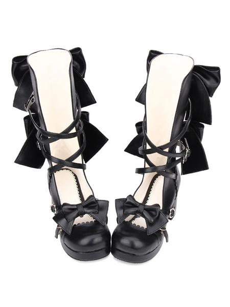 Milanoo Sweet Lolita Shoes Bow Strappy Chunky High Heel Black PU Lolita Footwear