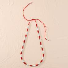 1 Stueck Halskette mit Perlen Dekor