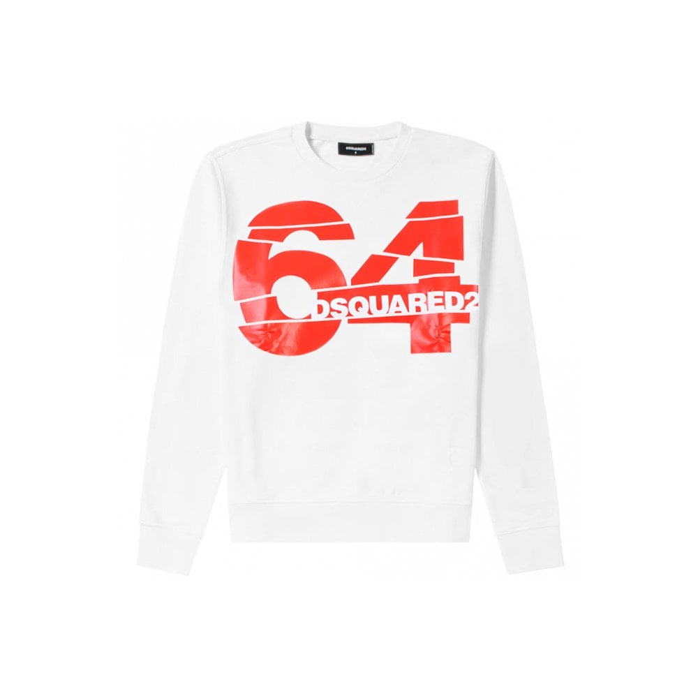 Dsquared2 64 Graphic Print Sweatshirt Colour: WHITE, Size: EXTRA EXTRA LARGE