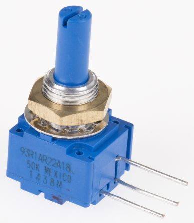 Bourns 1 Gang Rotary Cermet Potentiometer with an 6 mm Dia. Shaft - 50kΩ, ±10%, 2W Power Rating, Linear, Panel Mount