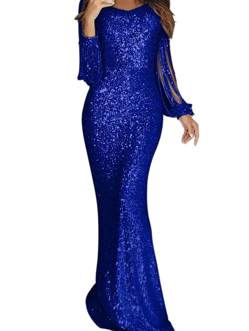 Ericdress Scoop Neck Long Sleeves Sheath Sequins Evening Dress