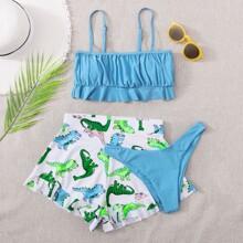 3pack Cartoon Dinosaur Ruffle Bikini Swimsuit & Shorts