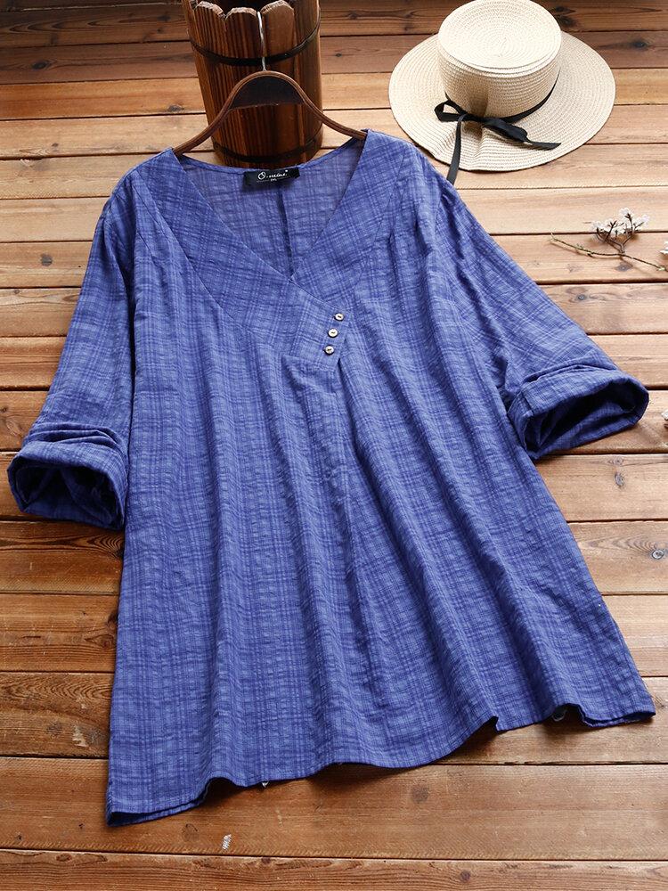 Plaid V-neck Long Sleeve Cotton Plus Size Blouse