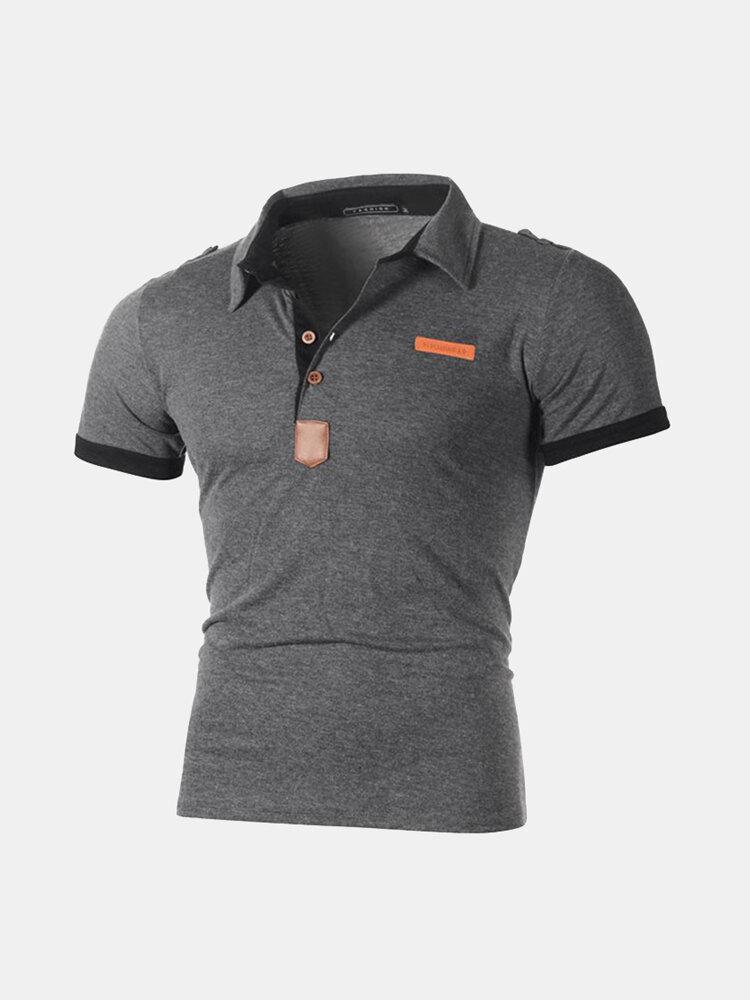 Mens Business Golf Shirt Patchwork Short Sleeve Slim Spring Summer Casual Cotton Tops