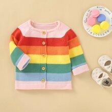 Toddler Girls Rainbow Striped Button Front Cardigan