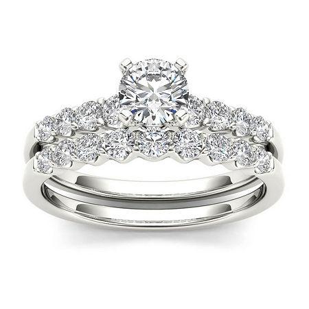 1 CT. T.W. Diamond 14K White Gold Bridal Ring Set, 6 , No Color Family