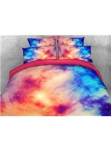 Vivilinen 3D Pink Blue Contrast Galaxy Printed 5-Piece Comforter Sets