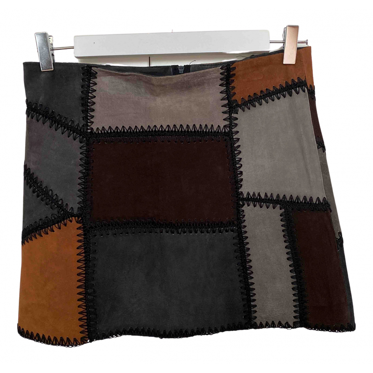 Zara - Jupe   pour femme en suede - marron