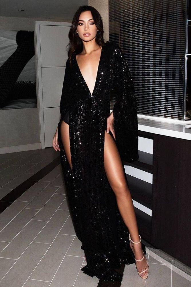 Sexy tiefem V-Ausschnitt mit langen Ärmeln vorne Split Abendkleid