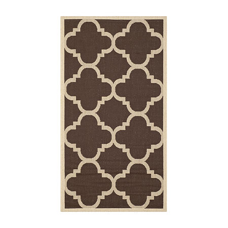 Safavieh Courtyard Collection Gina Geometric Indoor/Outdoor Area Rug, One Size , Brown