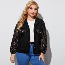 Plus Contrast Floral Print  Denim Jacket